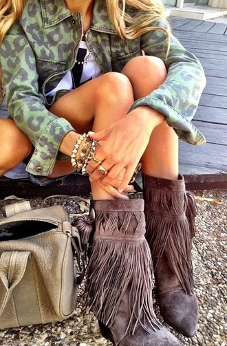 gray boots green jacket leopard print fringe shoes
