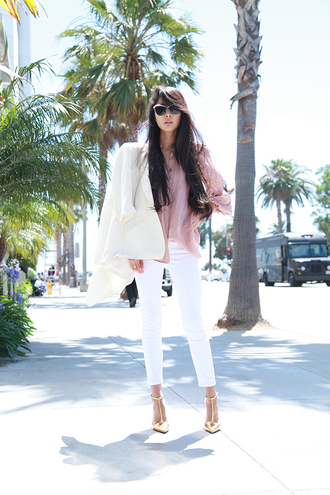 shirt shoes chic muse jacket jeans sunglasses