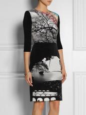 dress,bqueen,fashion,girl,sexy,elegant,chic,party,evening dress,black,lady,body,bodycon,landscape-print,silk