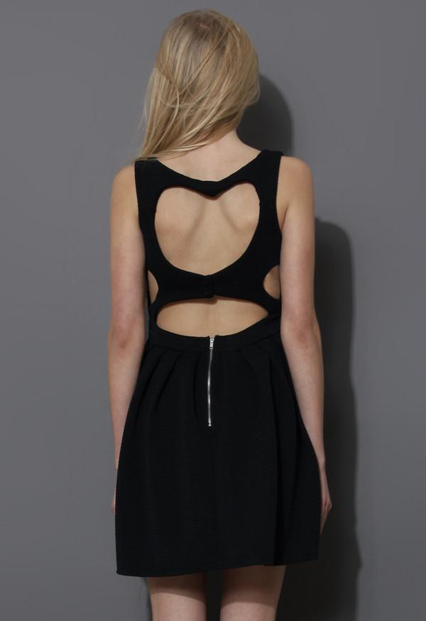 dress sweetie heart cut-out skater dress black