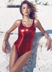 swimwear,metallic swimsuit,metallic one-piece,one piece swimsuit,metallic,red