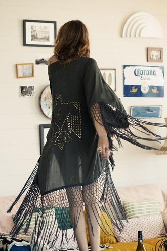 top fringes kimono black