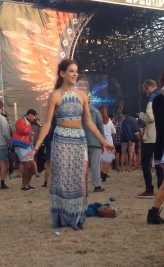 dress top crop top crop skirt sheer gypsy blue summer boho tribal pattern print turquoise