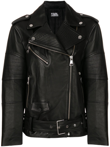 karl lagerfeld jacket biker jacket oversized women leather black