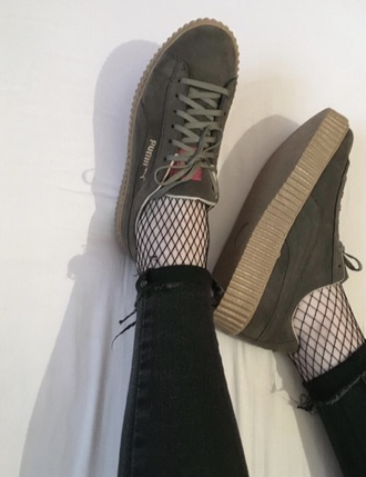 shoes puma olive green sneakers puma suede
