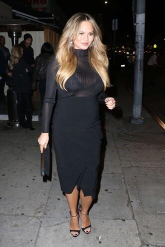 top skirt midi skirt black dress all black everything sandals clutch chrissy teigen bag turtleneck sheer