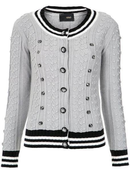 Andrea Bogosian - knit cardigan - women - Cotton/Polyamide/Viscose - M, Grey, Cotton/Polyamide/Viscose