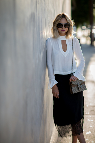 late afternoon blogger top skirt bag sunglasses jewels shoes