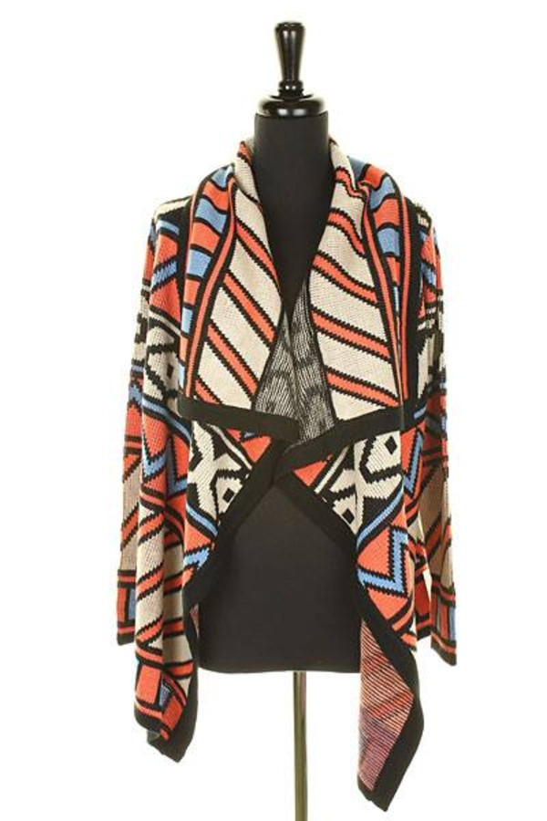 sweater cardigan tribal cardigan long cardigan winter sweater aztec
