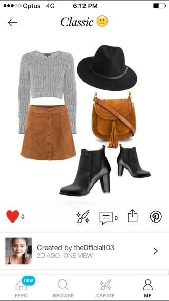 shirt grey crop tops skirt high heels fashion hats brown