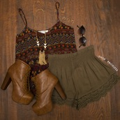top,aztec top,summer top,lace shorts,olive shorts,crochet shorts,olive crochet shorts,brown booties,spaghetti strap,shoes