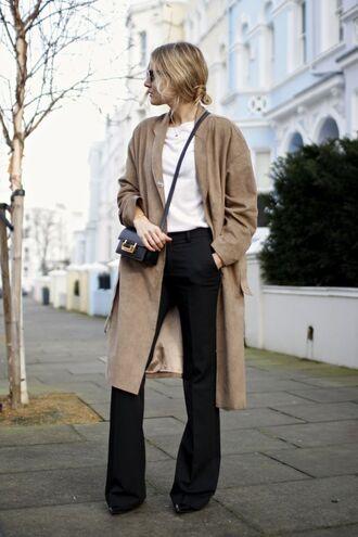 pants white shirt black flared pants brown coat blogger