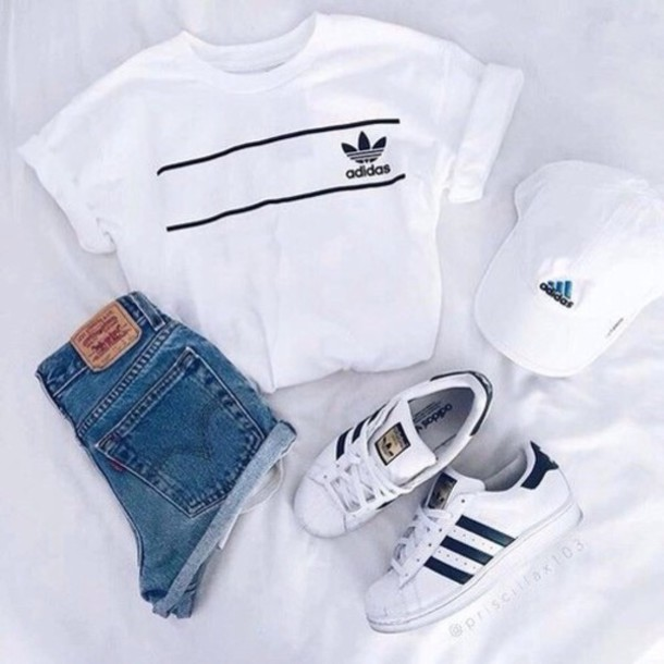 Shirt tumblr outfit tumblr summer adidas adidas shirt cute outfit summer top summer ...