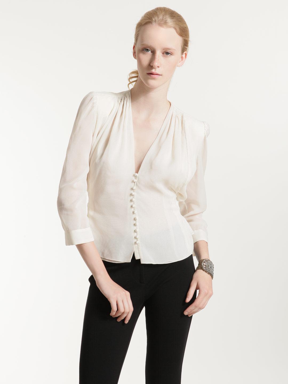 Silk chiffon peignoir blouse by erin fetherston at gilt