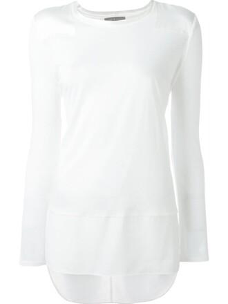 t-shirt shirt women white silk top