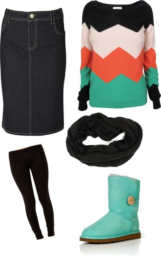 sweater winter boots chevron colorful teal scarf leggings cozy winter sweater shoes