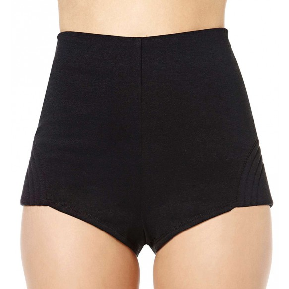Zip Back Hot Pants With Rib Detail at Style Moi