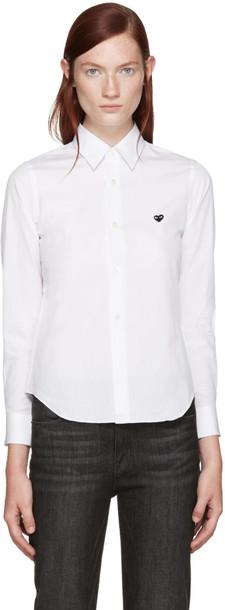 Comme Des Garçons Play White Poplin Small Heart Shirt