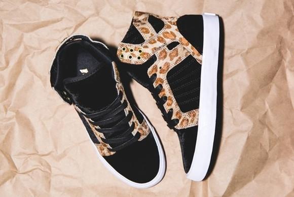 shoes sneakers supra sky top sneakers, animal print, black leopard print
