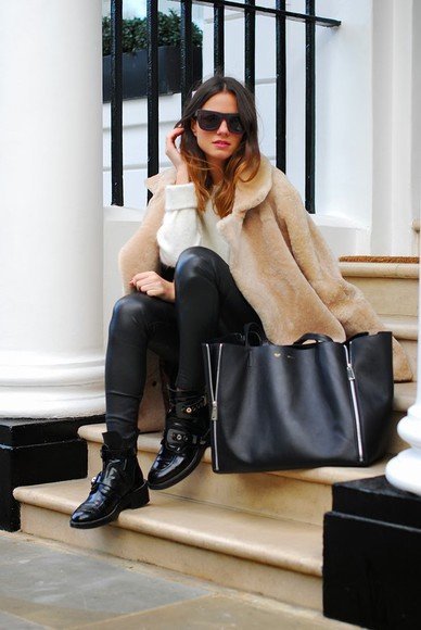 fashion vibe shoes bag coat sunglasses sweater pants jewels