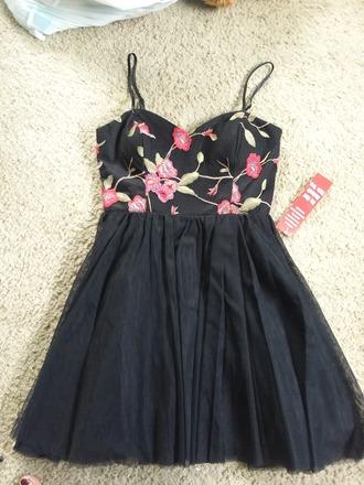 dress polyester floral black large