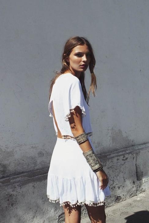 For Love & Lemons Chica Skirt in White