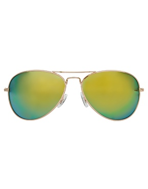 ASOS | ASOS Aviator Sunglasses with Blue Mirror Lens at ASOS