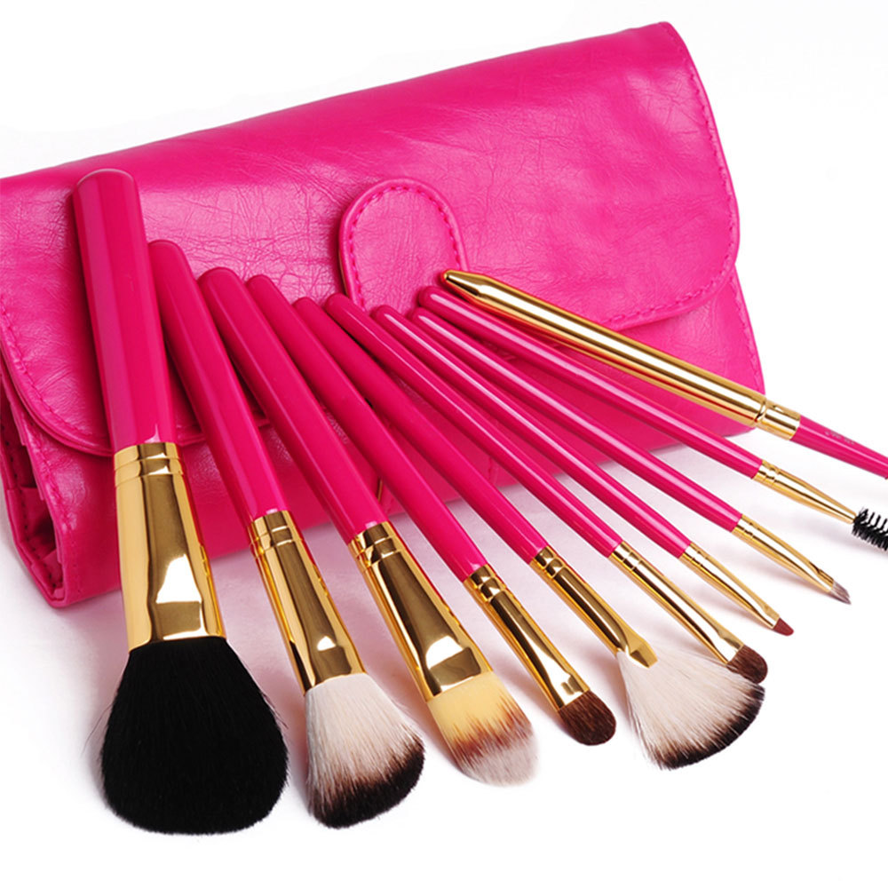 [grxjy5140030]10 PCS Make Up Cosmetic Brush Set with Rose Red Bag / thevintagestudio