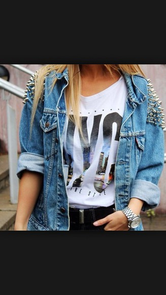 studs style cute jeans chic cardigan jean jackets blue jeans studded jacket spiked denim jacket denim