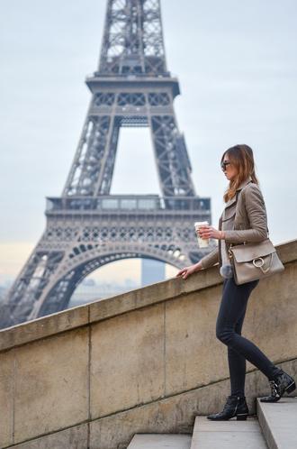 vogue haus blogger sweater jacket jeans shoes bag winter outfits grey jacket ankle boots shoulder bag chloe bag