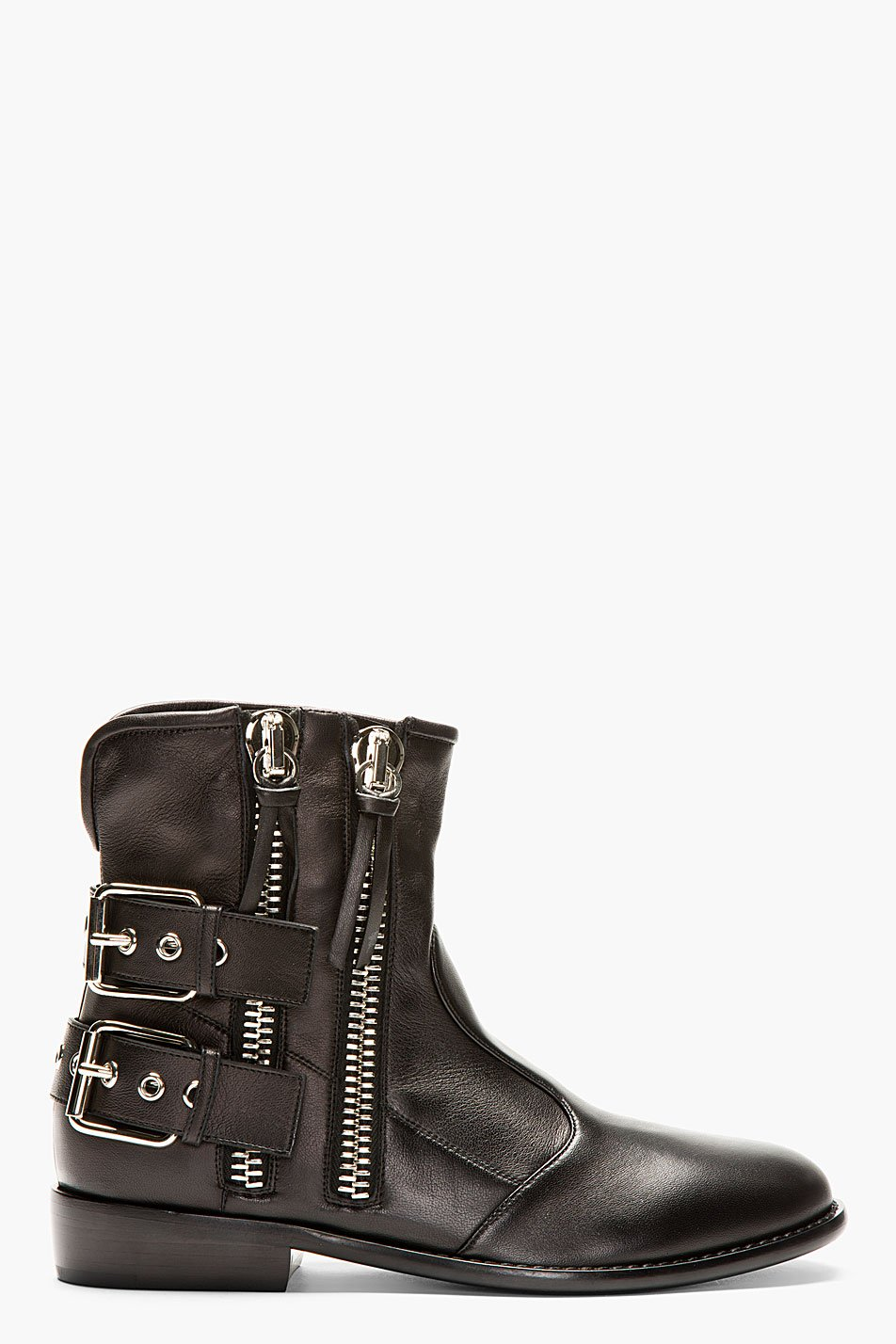 giuseppe zanotti black leather buckle boots