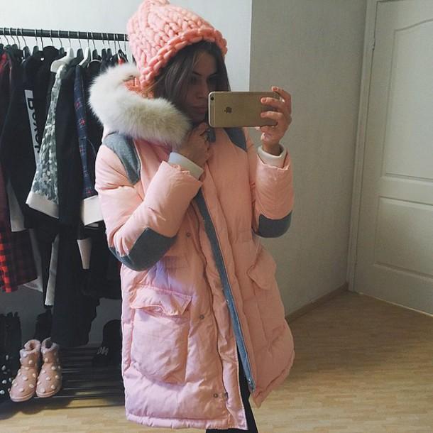 coat parka pink coat