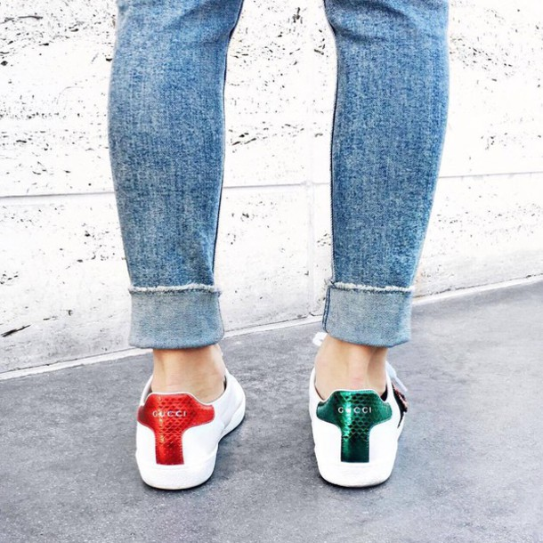 shoes gucci ace sneakers gucci gucci shoes low top sneakers white sneakers sneakers denim jeans blue jeans metallic sneakers