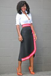blogger,shirt,skirt,shoes,work outfits,office outfits,white shirt,asymmetrical,asymmetrical skirt,wrap skirt,earrings,hoop earrings