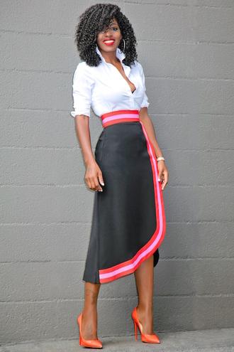 blogger shirt skirt shoes work outfits office outfits white shirt asymmetrical asymmetrical skirt wrap skirt earrings hoop earrings