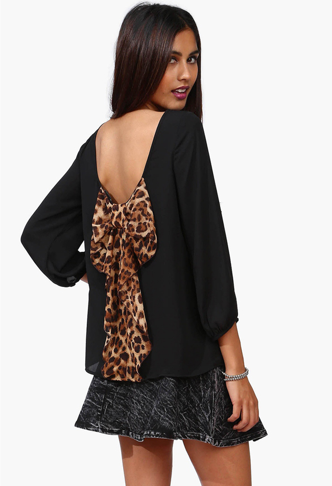 201312 Fashion Women's  chiffon leopard print loose Back Bow Knot Blouse Blouses Chiffon Shirt  sexy women's top-inBlouses & Shirts from Apparel & Accessories on Aliexpress.com