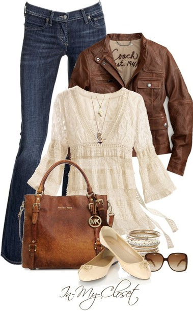 shoes top ballet flats white blouse brown leather jacket blouse