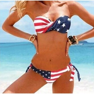 swimwear flag print american flag print shorts strapless dress lace strapless dress bandeau bikini ruffle bandeau bikini