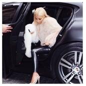 jacket,kim kardashian,kim kardashian west,fur,real fur,real fur jacket,fur jacket,high heels,nude,nude high heels,leather pants,leather,leggings,shoes,pants