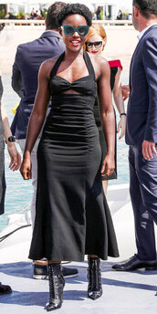 sunglasses,black,black dress,cannes,midi dress,celebrity,lupita nyong'o