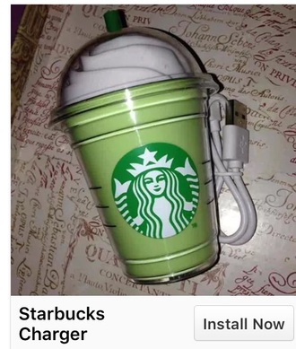 home accessory starbucks coffee phone charger green