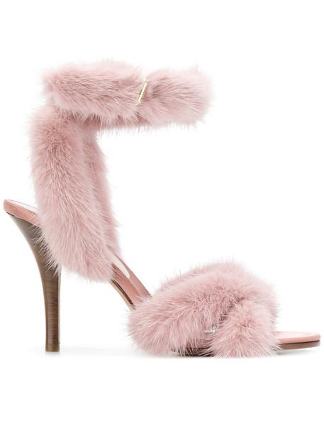 fur ankle strap women sandals leather cotton purple pink shoes