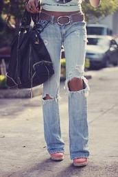 jeans,holes,pants,boots,purse,acid wash,boyfriend jeans,faded,faded jeans,belt,cropped,denim
