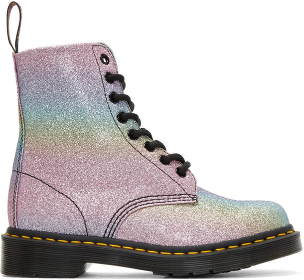 Dr. Martens glitter boots glitter rainbow boots multicolor shoes