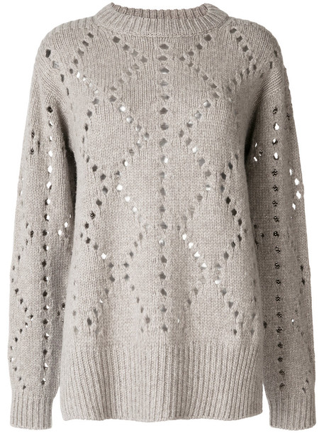 Pringle Of Scotland - pointelle argyle jumper - women - Cashmere/Wool - L, Grey, Cashmere/Wool