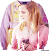 sweater,emma watson,sweatshirt,hermione,harry potter,pink,oversized sweater