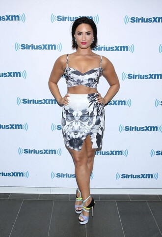 shoes skirt top sandals platform sandals demi lovato summer outfits two-piece crop tops