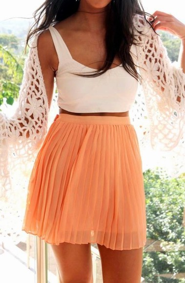 orange skirt skirt cute orange top shirt sweater coral pleated outfit pleated skirt dress sherbet skirt white crop top knit sweater all cute outfits girl summer outfits summer want want want oversized white sweater random girl brunnet skirt orange pink top white