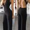 Women's deep v-neck backless bodysuit jumpsuit