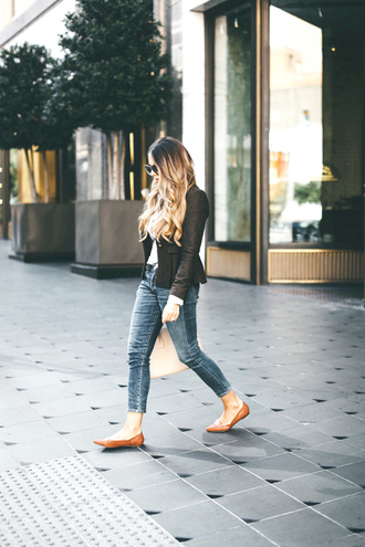 jacket tumblr blazer denim jeans blue jeans shoes flats ballet flats work outfits office outfits fall outfits